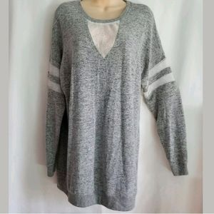 Inspired Hearts Gray Long Sleeve w Mesh Size XL